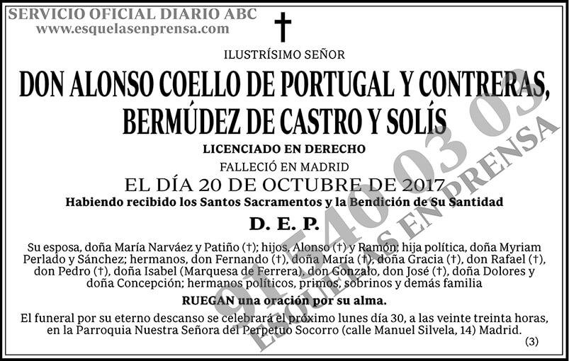 Alonso Coello de Portugal y Contreras, Bermúdez de Castro y Solís